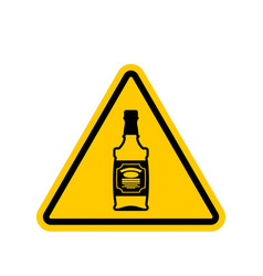 Attention alcohol bottle of whiskey on yellow vector