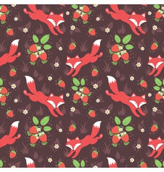 Foxes and wild strawberries seamless pattern vector