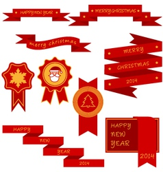 xmas labels and ribbon vector image