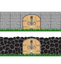 Two walls and gates vector