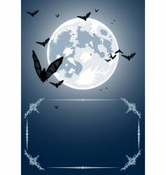 Halloween frame with moon and bats vector