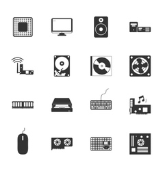 Computer peripherals and parts black and white vector