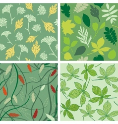 Set of seamless patterns with leaves vector image