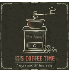 Brown blackboard with coffee mill and text vector