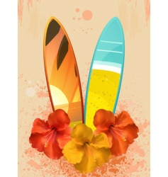 Hibiscus flowers and surfboards vector
