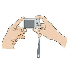 Man holding digital camera in two hands vector
