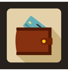 Brown wallet with credit card and cash icon vector image