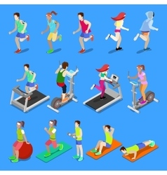 Isometric people man and woman exercising vector