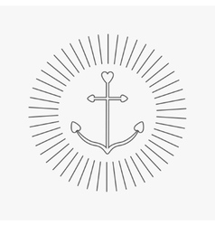 Ship anchor in shapes of heart round thin line vector