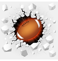 American football with cracked background vector image