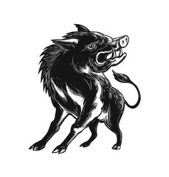 angry wild hog razorback scratchboard vector image vector image