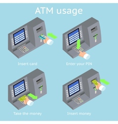ATM terminal usage Payment with credit card take vector image vector image