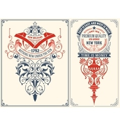 Baroque cards set layered vector