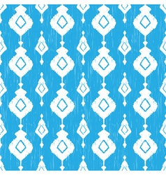 Blue ikat seamless pattern vector image