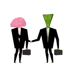 Brain and money business businessmen shaking vector