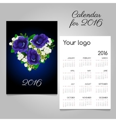 Calendar with a bouquet of heart shape vector