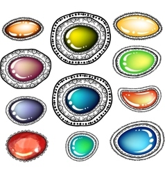 Colored stones with zentangle line art vector image
