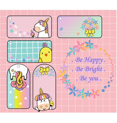 Cute unicorn and yellow bird gift tag set will mak vector