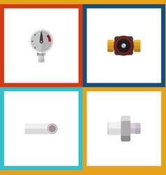 flat icon plumbing set of tap drain pressure and vector image