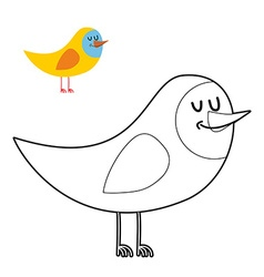 Funny bird coloring book comical fowl in linear vector image