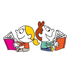 Girl and boy reading books vector