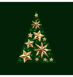 gold stars christmas tree to winter holiday vector image