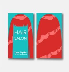 hair salon business card templates with red hair vector image vector image