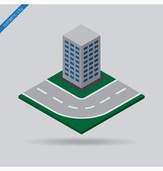 Isometric city - road and building vector