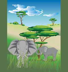 landscape with elephant vector image