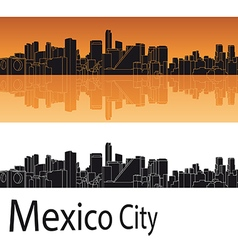 Mexico City skyline in orange background vector image vector image