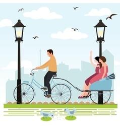 Riding rickshaw in town tourist enjoy city scene vector