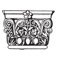 Roman pilaster cap show a greater variety of vector