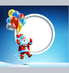 Santa claus flies on a balloon vector