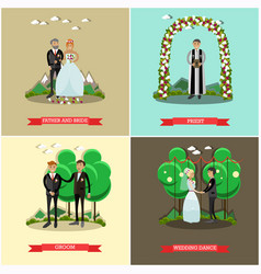 Set of wedding ceremony posters in flat vector
