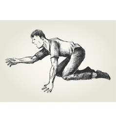 Sketch of a man crawling vector image