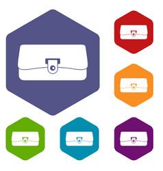 Small wallet icons set hexagon vector