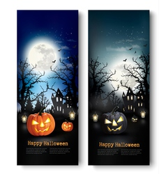 Two Holiday Halloween Banners with Pumpkins vector image vector image