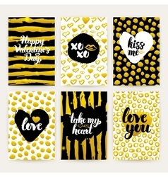 Valentine Day Gold Trendy Brochures vector image