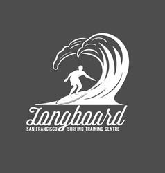vintage surfing label badge and emblems vector image vector image