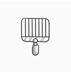 Empty barbecue grill grate sketch icon vector