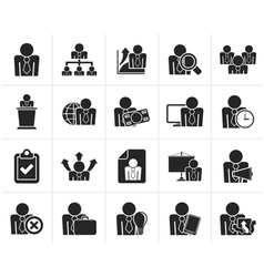 Black human resource and business icons vector