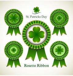 St patricks day rosette ribbon vector