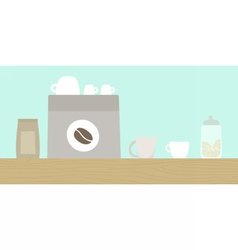 Cafe wooden counter with coffee machine cups vector