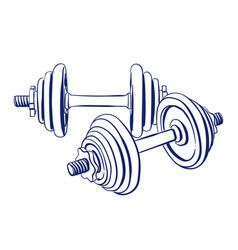 Dumbbells doodle drawing vector