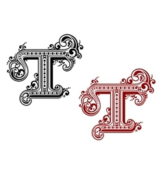 Capital letter t in retro style vector