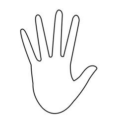 Hand showing five finger stop gesture icon vector