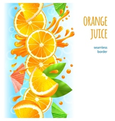 Orange juice border vector image