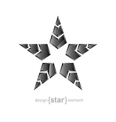 Metal star with arrows on white background vector