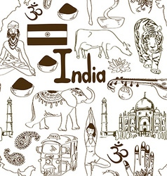 Sketch india seamless pattern vector