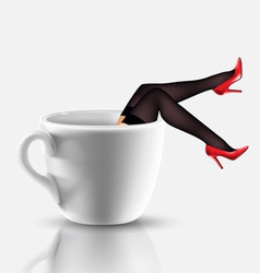 Coffee cup with legs vector